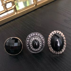 Black stone rings bundle